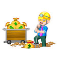 a businessman doing coin mining vector image