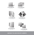 Abstract 3d logo icon set elements vector image
