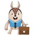armadillo with suit case on white background vector image vector image