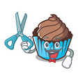 barber chocolate cupcake character cartoon vector image
