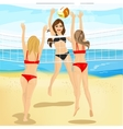 beautiful women play volleyball at beach vector image vector image