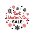 best valentines day sale in round fame snowflakes vector image