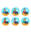 Call center agents team at desks flat icons vector image vector image