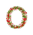 christmas floral tree letter O vector image vector image