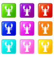 crayfish icons 9 set vector image