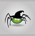 cute funny green cartoon spider wearing witch hat vector image vector image