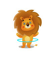 cute gold lion kid playing with metal or plastic vector image vector image