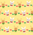cute rabbits cartoon seamless pattern design vector image