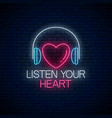 glowing neon sign with headphones heart shape and vector image vector image