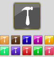 Hammer icon sign Set with eleven colored buttons vector image