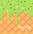 ice cream and wafer background vector image