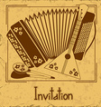 Invitation with folk musical instruments vector image vector image