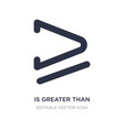 is greater than or equal to icon on white vector image vector image
