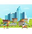 life in a big city urban people cartoon vector image