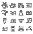 line video and camera icons set vector image vector image