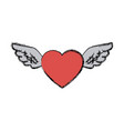 love heart wings fly tattoo free symbol vector image vector image