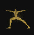 man doing yoga pose silhouette in gold glitter vector image