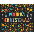 Merry Christmas greeting card Cute postcard with vector image vector image