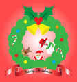 merry christmas - three friends lean out of wreath vector image
