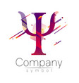 modern logo of psychology letter psi fluid style vector image vector image