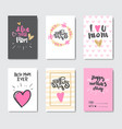 Mothers day set greeting cards decorated