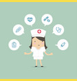 nurse with medical icons vector image