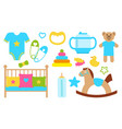 objects and items for kids poster vector image vector image