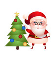 old santa claus decorates the christmas tree vector image