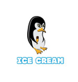 penguin in sunglass holding ice cream vector image