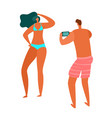 people beach summer ocean vacation family relax vector image