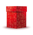 red gift box with a repeating gold pattern vector image vector image