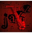 saxophone on musical background vector image vector image