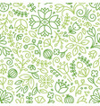 seamless pattern with blooming plants drawn vector image vector image
