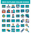 Seo search engine optimization outline color icons