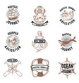 set of hand drawn nautical emblems skipper anchor vector image
