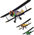 set of old biplane vector image