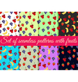 Set of seamless pattern with fruit vector image vector image