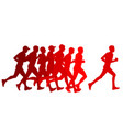 set of silhouettes runners on sprint men vector image