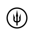 Simple trident sign Black symbol in a circle vector image vector image