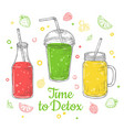 smoothie background summer drink doodle healthy vector image vector image