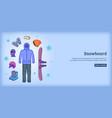 Snowboard banner horizontal man cartoon style vector image