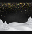 snowy landscapewith golden glittering snowflakes vector image