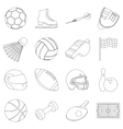 Sport and fitness set icons in outline style Big vector image