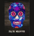 sugar skull mexican skull on wooden vector image vector image