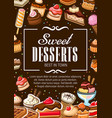 sweet desserts bakery shop pastry cakes vector image vector image