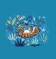 tiger playing with leaf in tropical garden vector image vector image