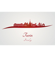 Turin skyline in red vector image vector image