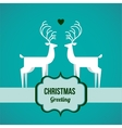 two deer on Christmas greeting card vector image vector image