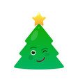 winking christmas tree isolated emoticon vector image vector image
