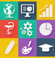Flat white business and education icons set vector image